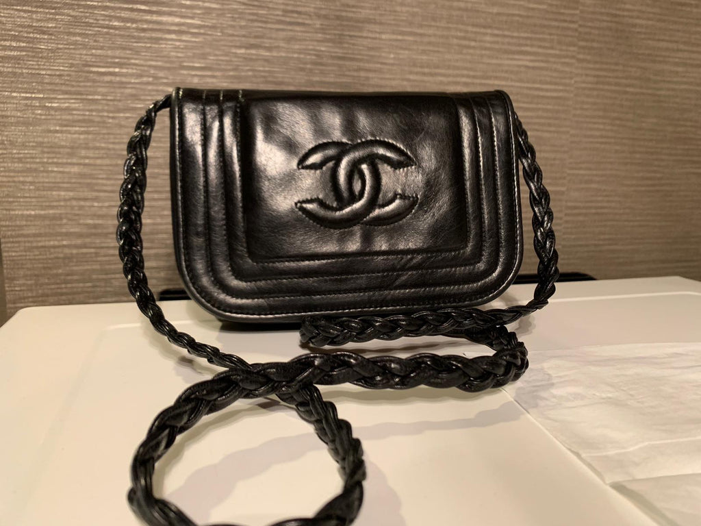 Vintage Chanel Lambskin Mini Flap Black