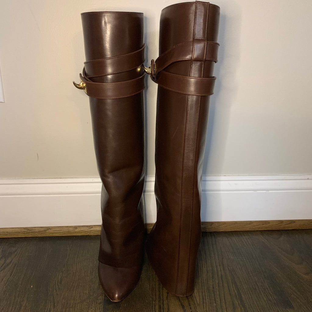 Knee high GIVENCHY shark lock boots, 38.5