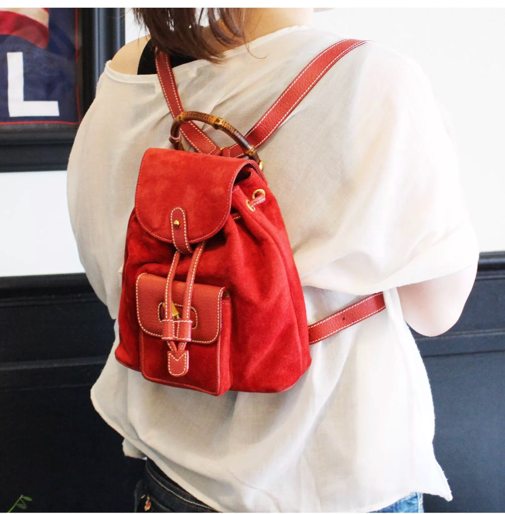 Red Suede + Leather GUCCI knapsack with Bamboo details