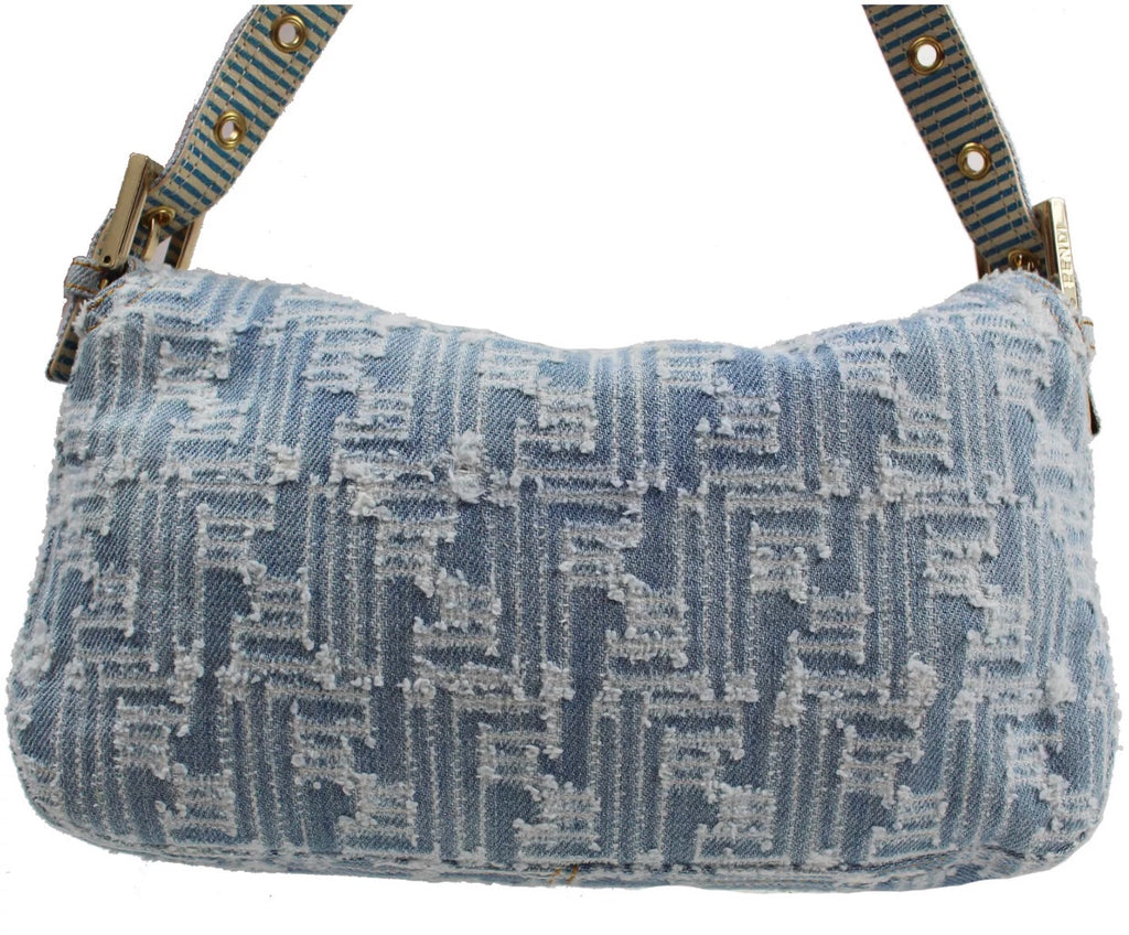 FENDI FF DENIM MONOGRAM HANDBAG