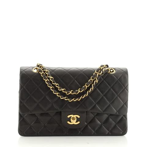 Chanel Vintage Classic Double Flap Bag Quilted Lambskin Medium 10""