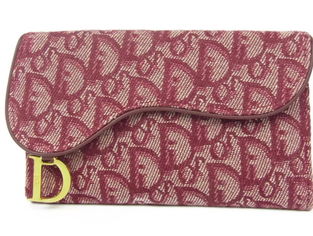VINTAGE CHRISTIAN DIOR MONOGRAM CLUTCH WALLET, RED