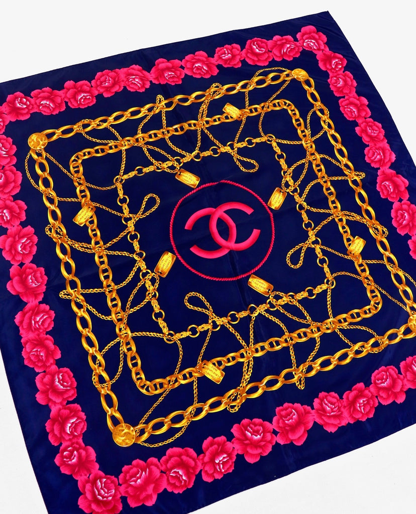 Vtg CHANEL Chains & Roses Silk Scarf