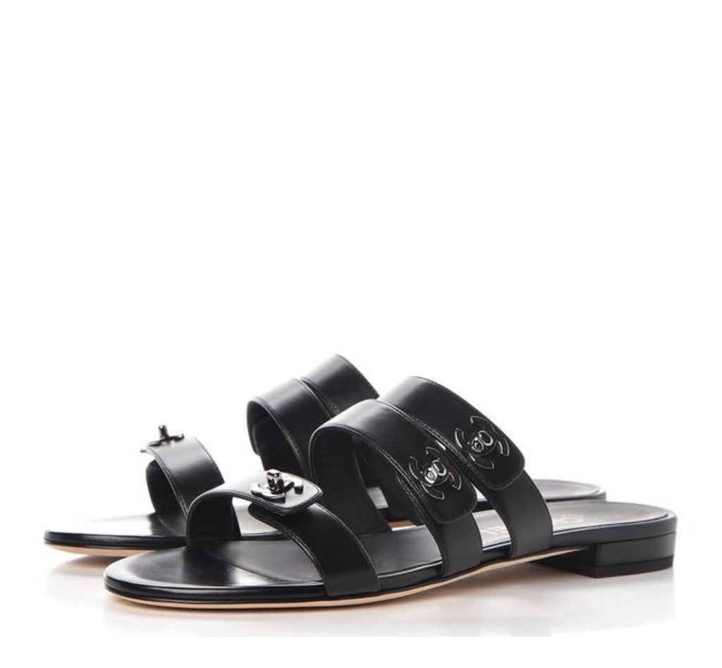 CHANEL 17P Turnlock Slide Sandals, 39