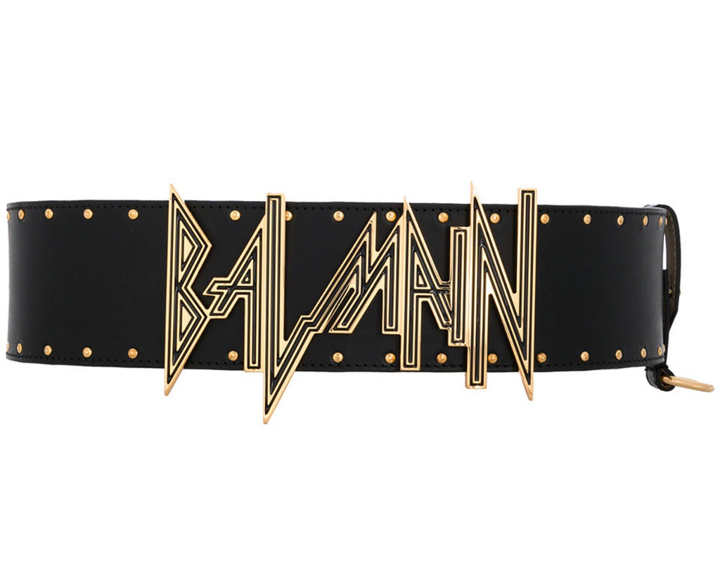 BALMAIN LEATHER + METAL BELT