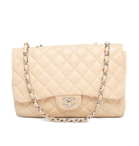 Beige Lambskin CHANEL Single Flap Jumbo SHW