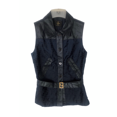 Vtg Belted Fendi FF Monogram Vest, IT40 (small)