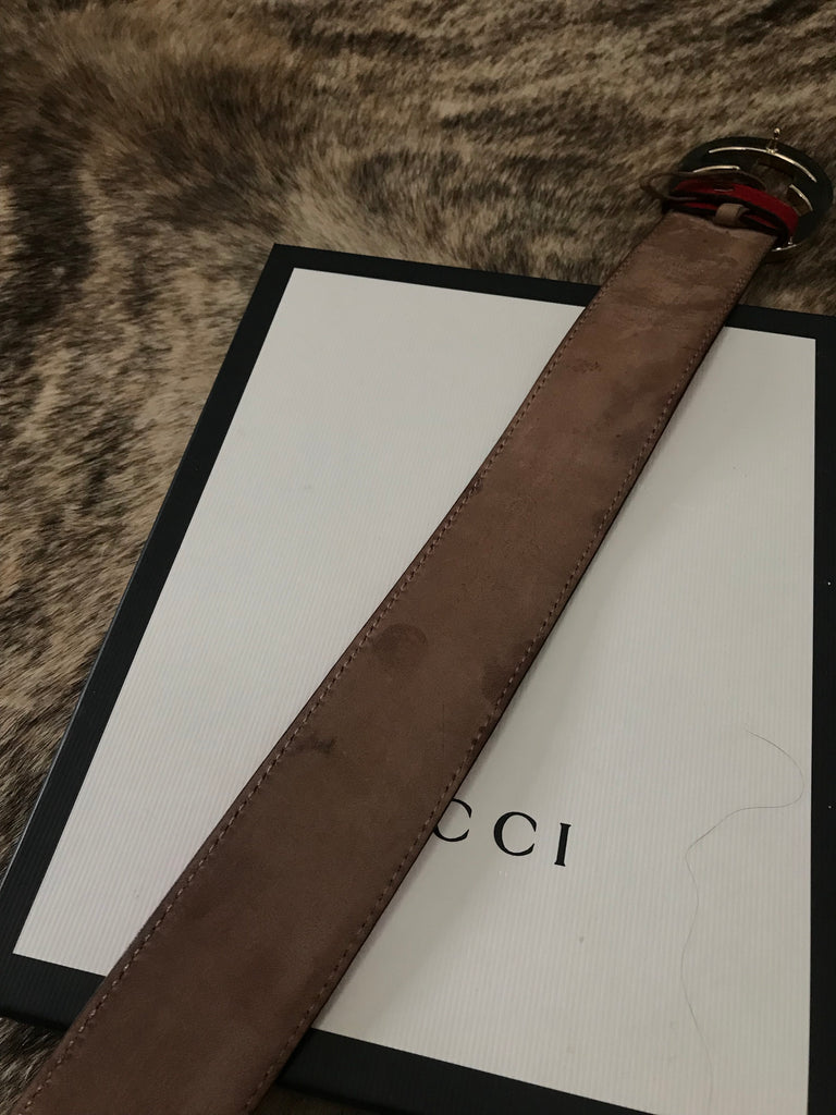 RED GUCCI Monogram Leather Belt, 44/110