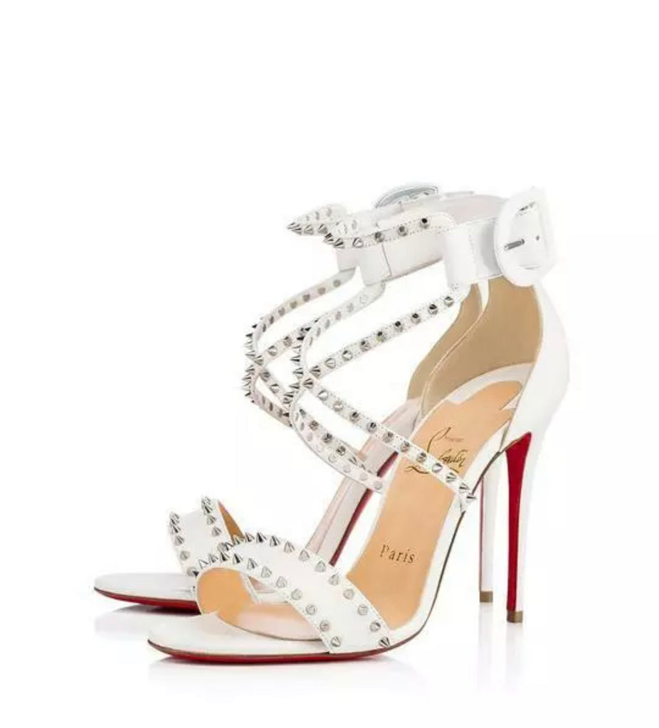 NEW IN BOX White Christian Louboutin Spike Sandals
