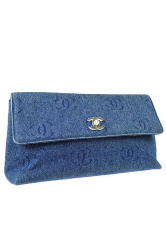 Vintage CHANEL Denim Logo Clutch