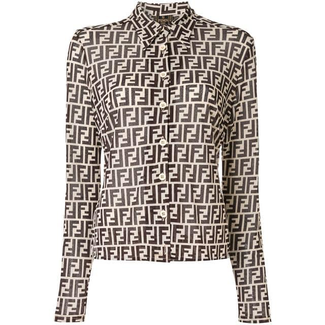 Vtg FENDI FF Monogram Stretch Blouse, IT42