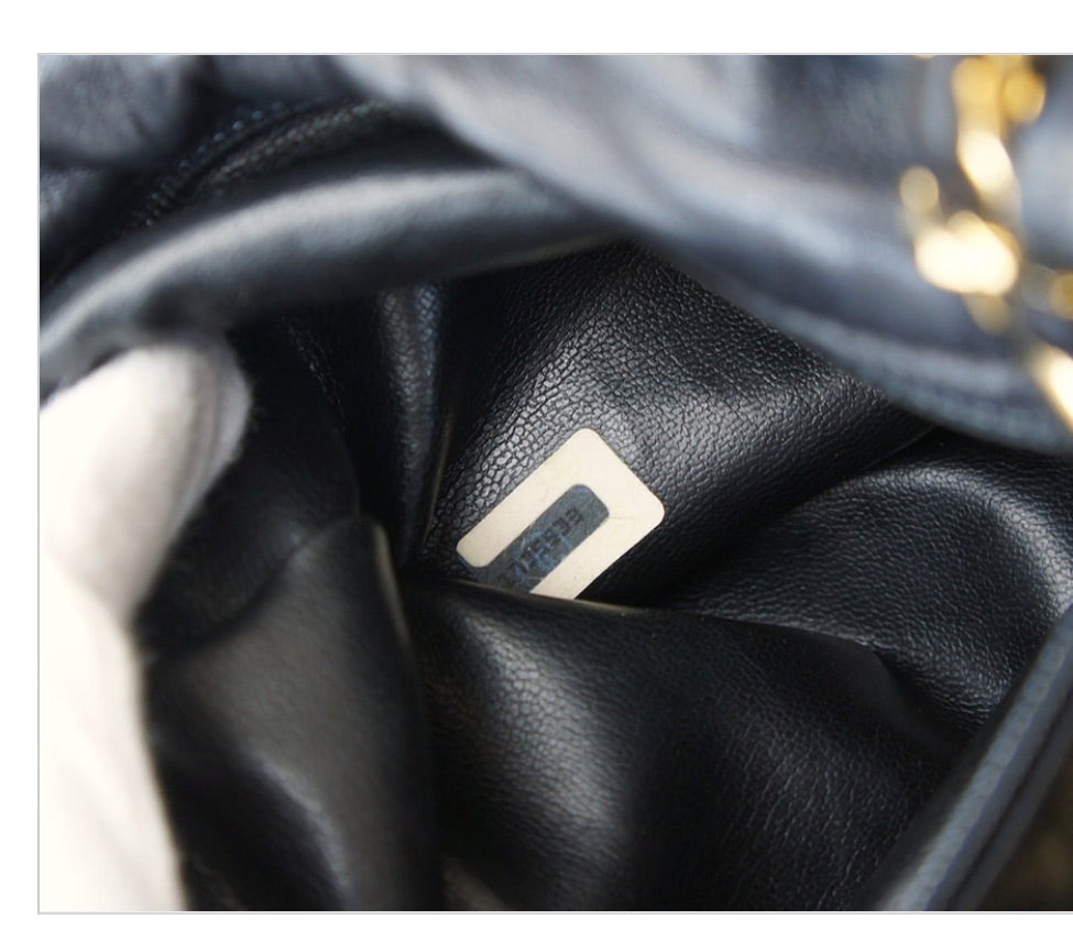 Vintage CHANEL Drawstring Bag Black GHW