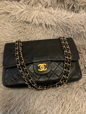 "Vintage CHANEL 2.55 10"" Flap Bag"