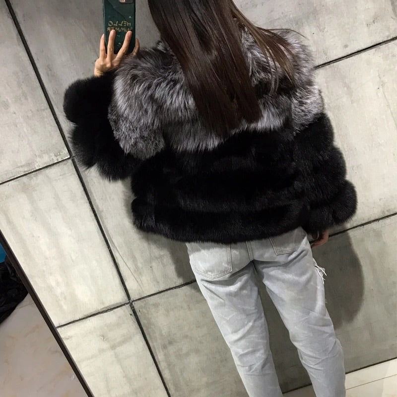"""STASSIE"" Bicolor Full Pelt Fox Fur Bomber"