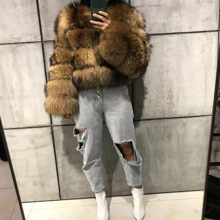 """ELENA"" NATURAL RACCOON FUR BOMBER"