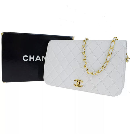 Vtg CHANEL Timeless Flap, White GHW