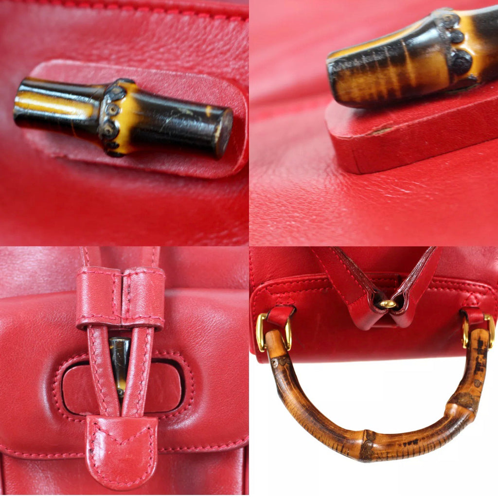 GUCCI GG Bamboo + leather knapsack