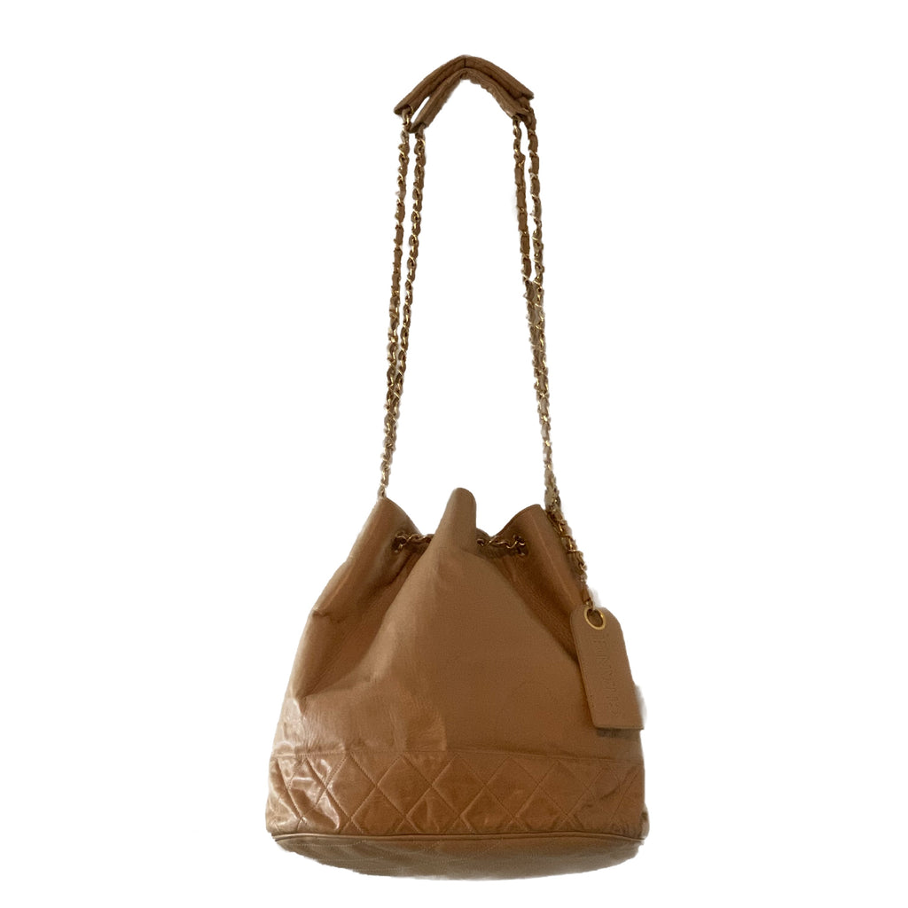 Vtg CHANEL Drawstring Bucket Bag, GHW