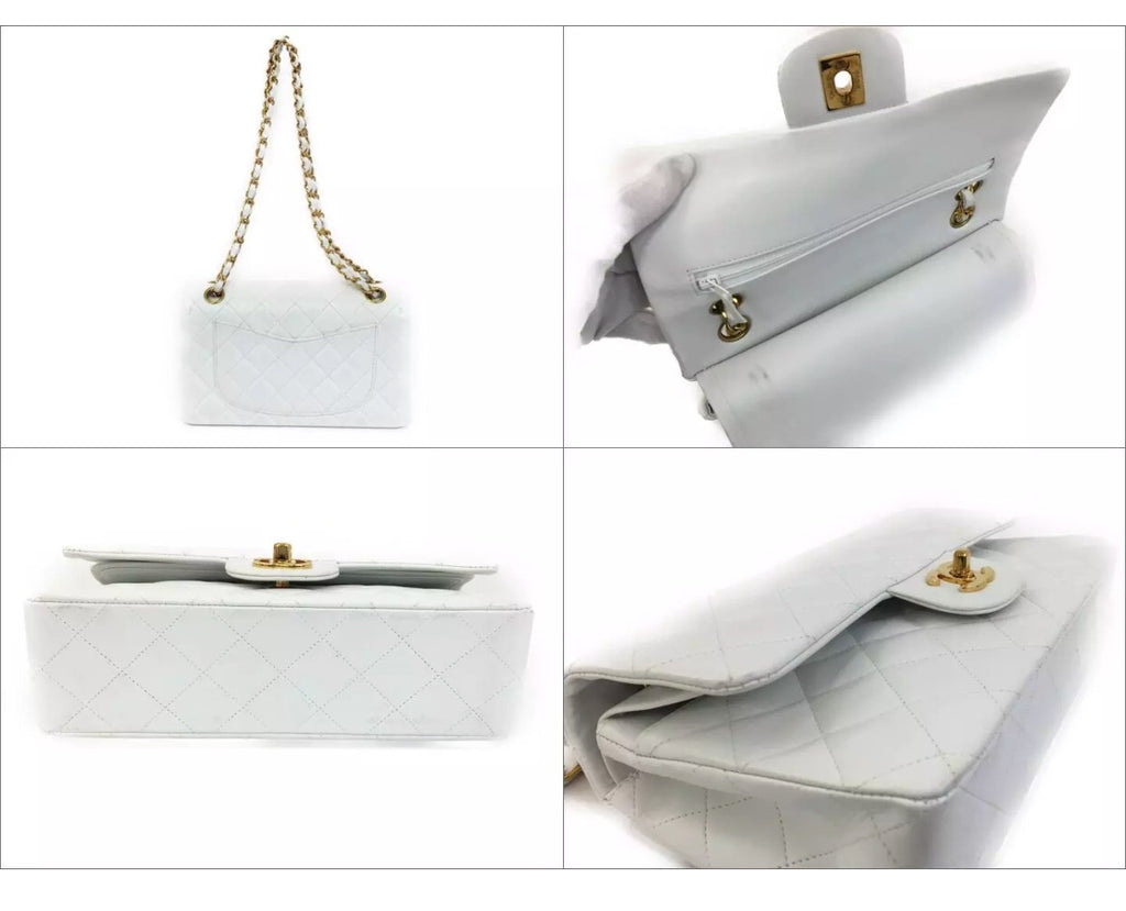 CHANEL Classic Flap Medium 2.55 White GHW