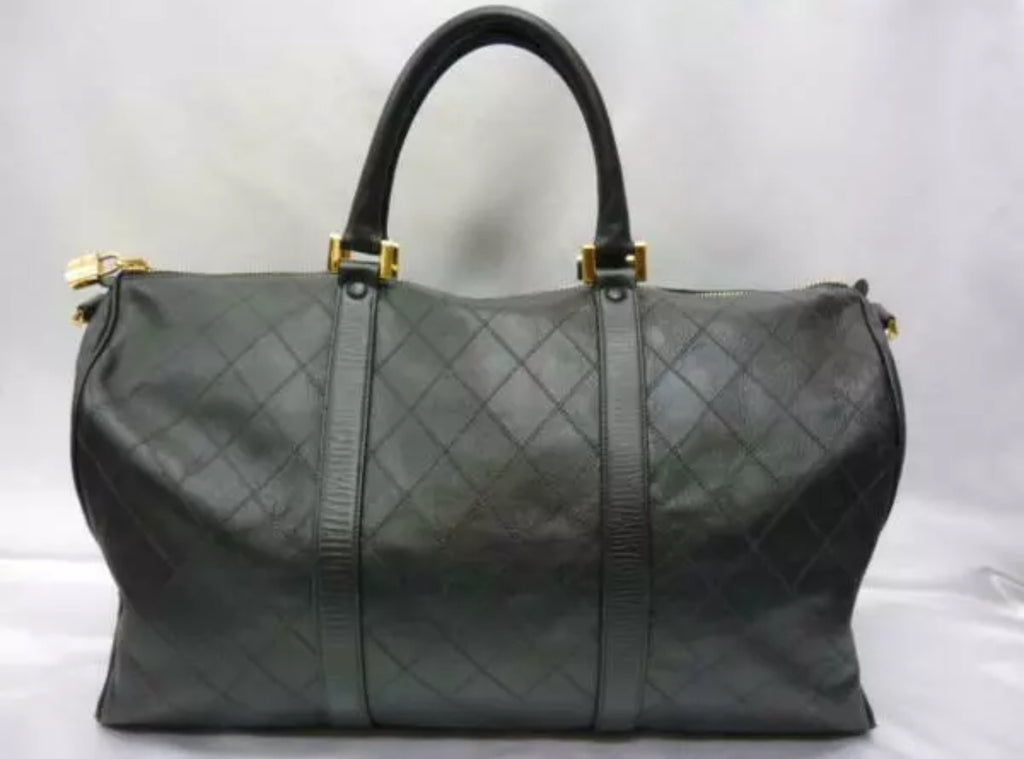 Vintage CHANEL Diamond Quilt Weekender Bag
