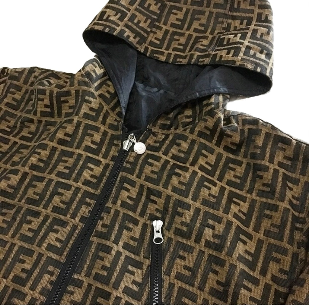 Vtg Fendi Monogram Logo Reversible Parka Jacket