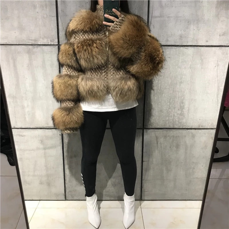 """CHLOE"" Natural Raccoon Fur Bomber"