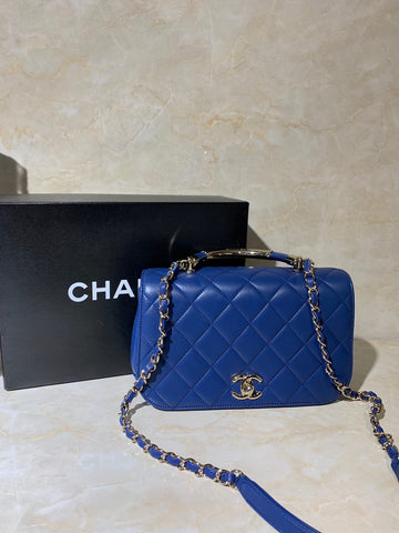 Blue Roi CHANEL Top Handle Shoulder Bag