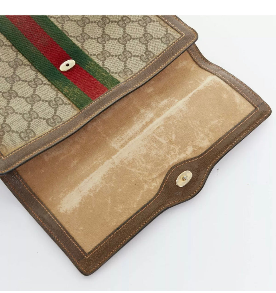 VTG Gucci GG Supreme Clutch Bag with Web
