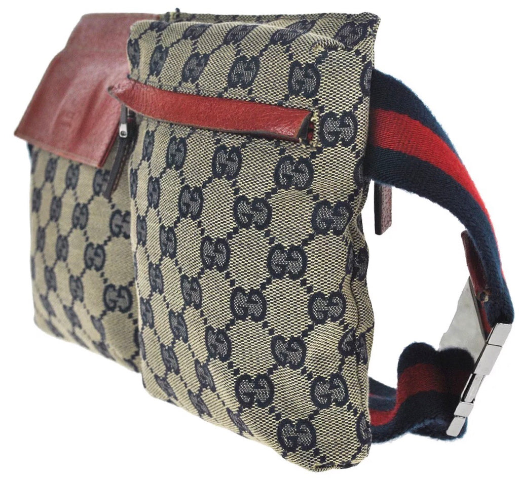 82a26251dd5219 VINTAGE GUCCI GG SUPREME FANNY PACK WITH WEB DETAIL - Luxury Locker