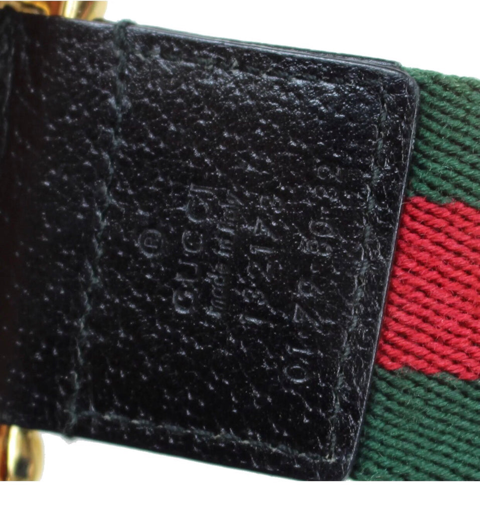 GUCCI WEB BELT WITH GOLD BAMBOO DETAIL, 85/32