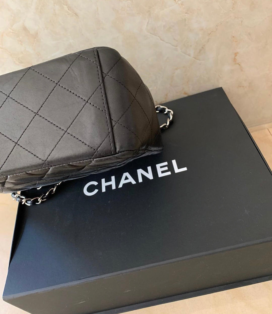 Black CHANEL Lambskin Maxi Flap SHW