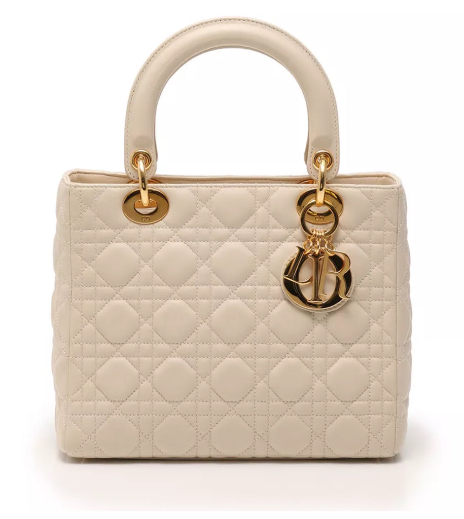 LADY DIOR IVORY LEATHER TOTE, MEDIUM