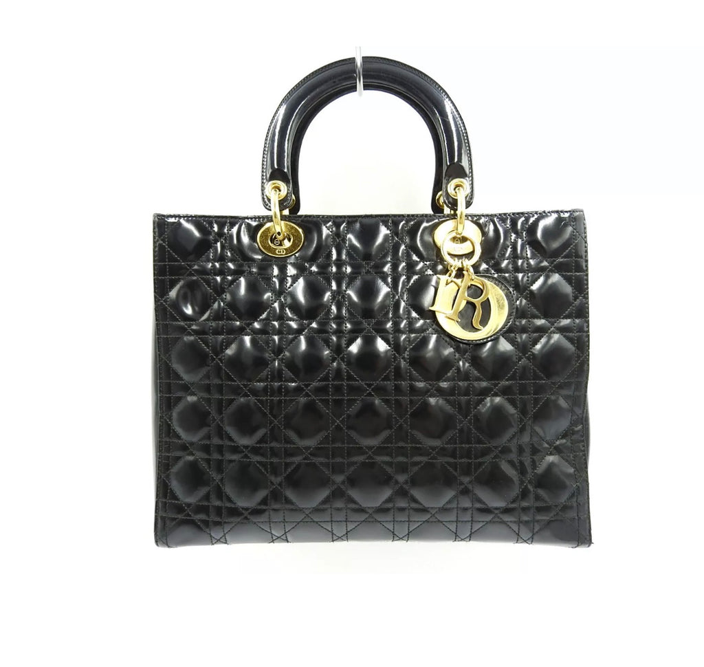 "Black Patent Leather Christian Dior ""Lady"" Bag"