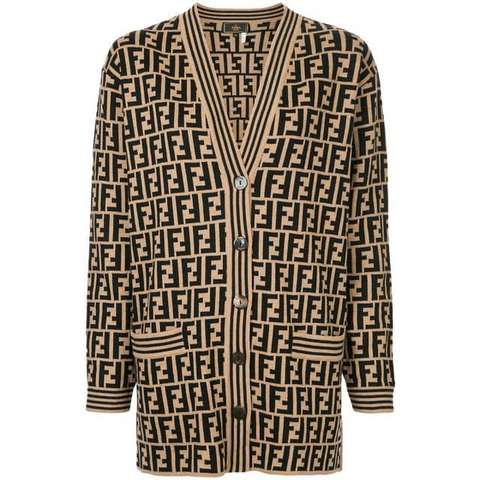 Unisex FENDI FF Monogram Button Down Cardigan