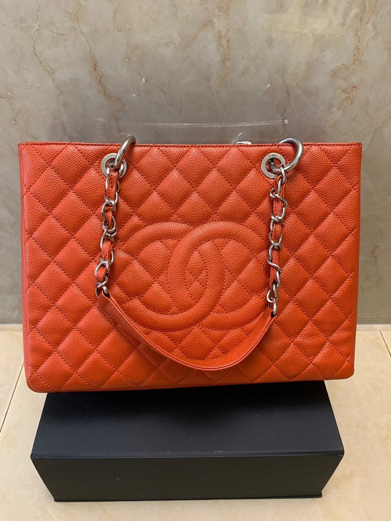 Orange Caviar CHANEL GST Shopper Tote SHW