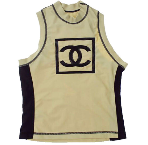 Vtg CHANEL Spandex Logo Sports Top