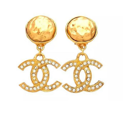 Vintage CHANEL CC Swarovski Dangle Earrings