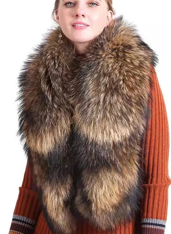 100% Real Natural Fox Fur Shawl Scarf