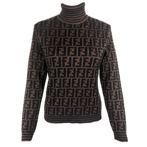 Vtg FENDI Monogram Turtleneck Sweater