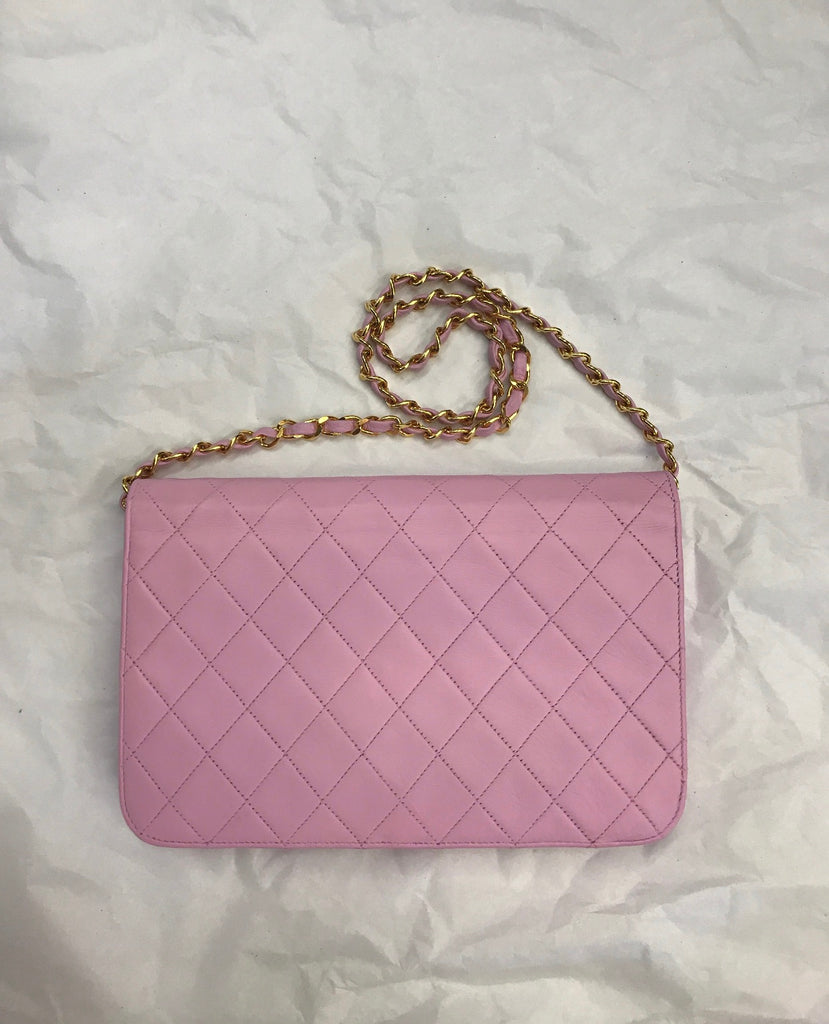 Vtg CHANEL Timeless Flap Bag, Pink GHW