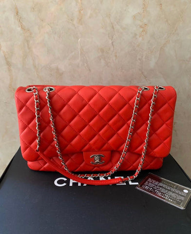 RED LAMBSKIN CHANEL JUMBO SIZED FLAP BAG