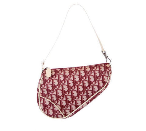 VINTAGE DIOR MONOGRAM MINI SADDLE BAG, RED