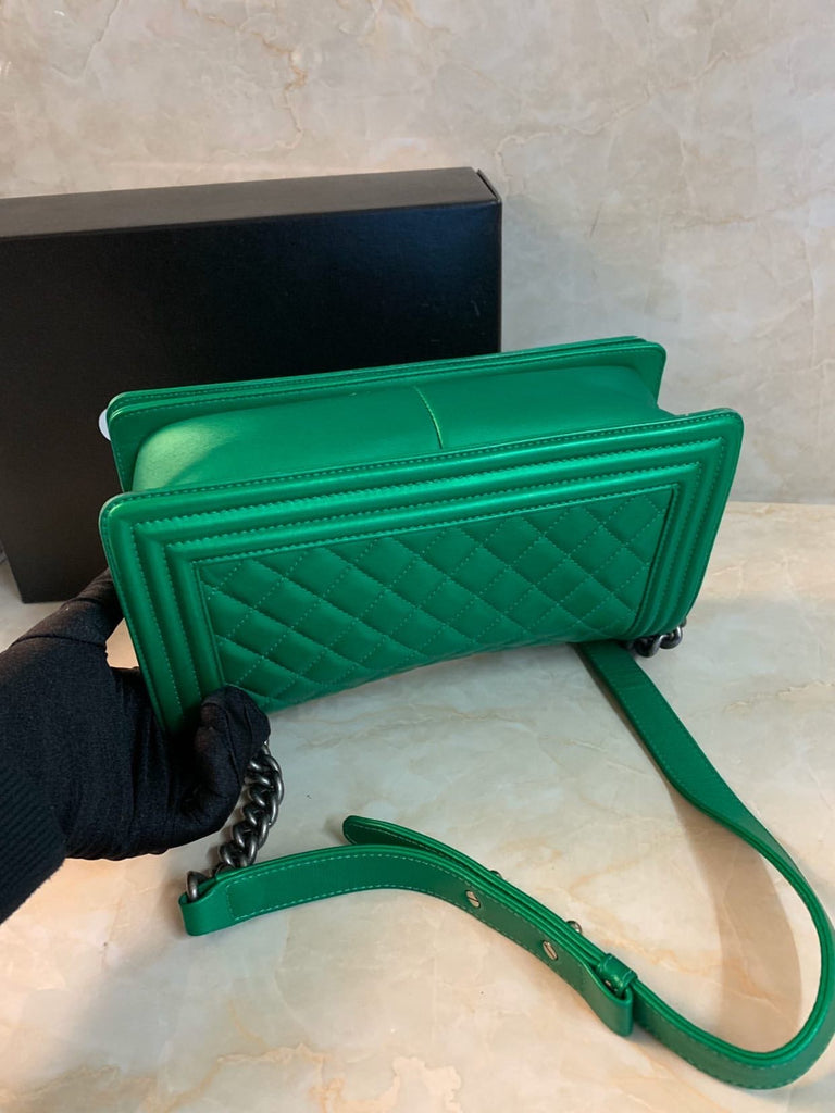 Emerald Green Calfskin Boy Bag Medium SHW