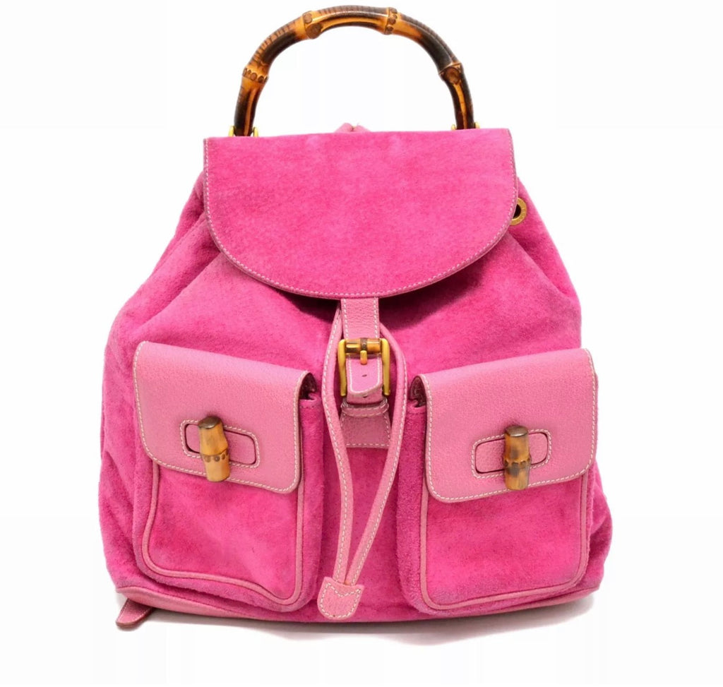 Pink Gucci Suede Bamboo Backpack