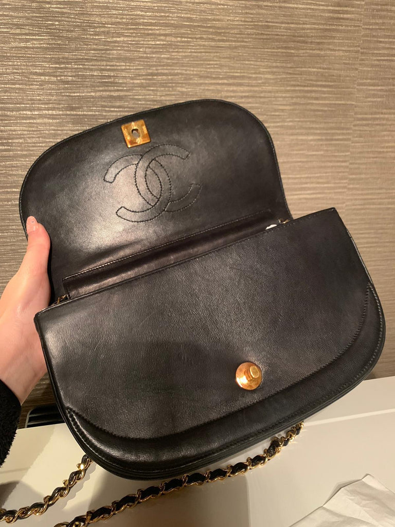 Vintage CHANEL Half Moon Flap Bag, Black GHW
