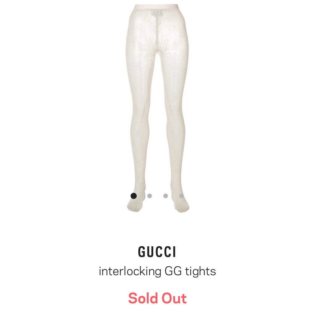 GUCCI NEW SEASON IVORY GG TIGHTS, M