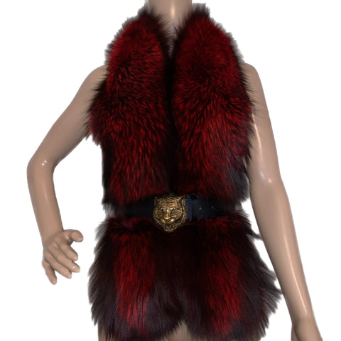 100% NATURAL FOX FUR SHAWL, ONE SIZE
