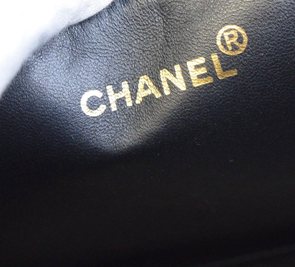 Vtg CHANEL patent GST shopper tote black GHW