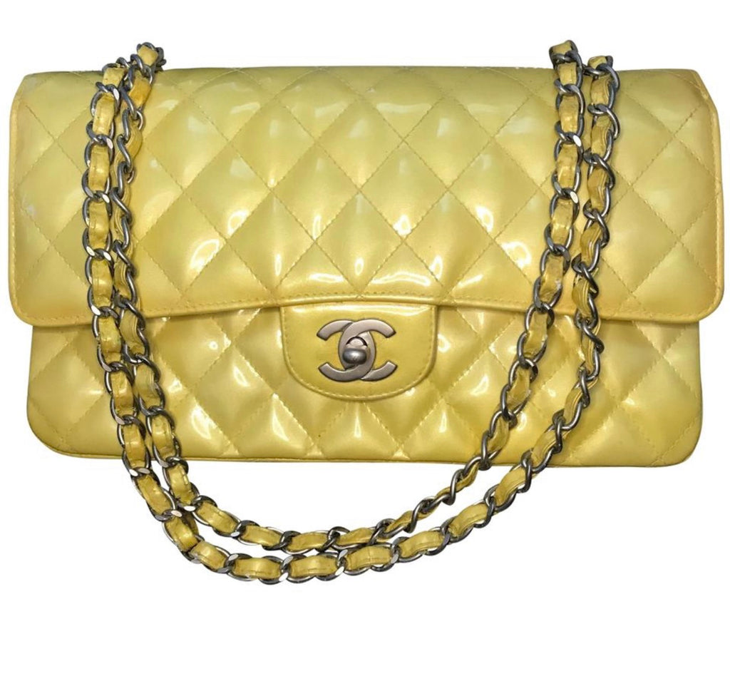 Yellow CHANEL Patent Leather 2.55 Classic Flap SHW