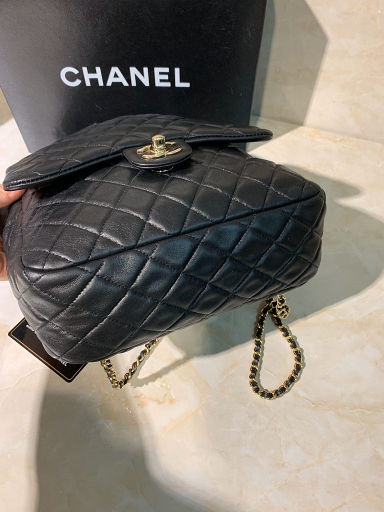 Black Lambskin CHANEL Quilted Leather Backpack, Large